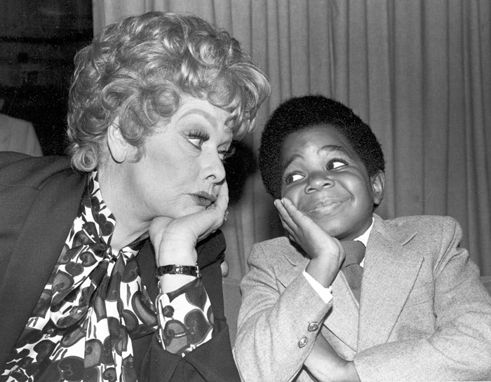 """In this 1979 photo, comedian-actress Lucille Ball, left, poses with actor Gary Coleman during a break in filming """"The Lucille Ball Special."""""""