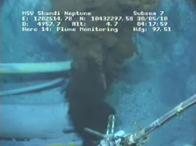 """This image made from video released by British Petroleum (BP PLC) shows the gushing oil well in the Gulf of Mexico today. The most ambitious bid yet for a temporary fix ended in failure Saturday when BP said it was unable to overwhelm the broken well with heavy fluids and junk. The company determined the """"top kill"""" had failed after it spent three days pumping heavy drilling mud into the crippled well 5,000 feet underwater."""