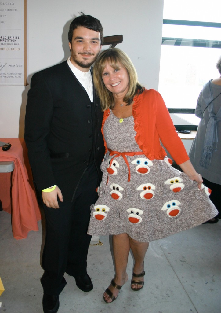 Tim Karu and his mother Candace Pilk Karu, who is the chair of the trustees and the goddess of sock monkey dresses.