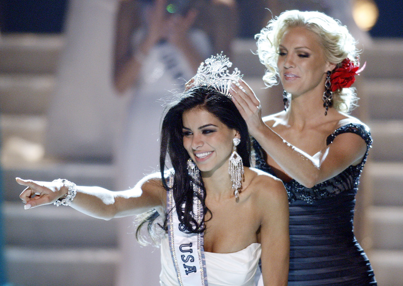 Miss Michigan Rima Fakih reacts as she is crowned Miss USA 2010 on Sunday in Las Vegas. Miss Maine was fourth runner-up.