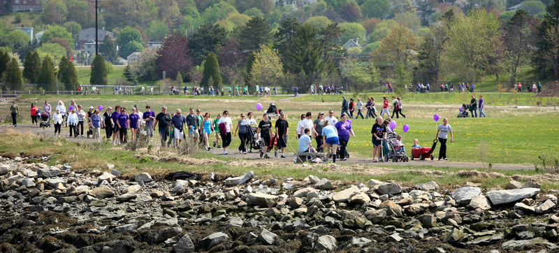 Participants in the March of Dimes March for Babies walk around the Back Cove in Portland on Sunday.