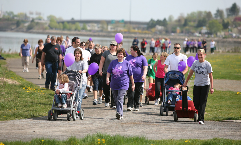 Walkers make their way along the Back Cove during the March of Dimes March for Babies in Portland on Sunday.
