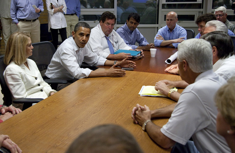 President Obama meets with state and federal officials for an update on the Gulf Coast oil spill today in Grand Isle, La. From left are, Lafourche Parish President Charlotte Randolph. the president, Plaquemines Parish President Billy Nungesser, Louisiana Gov. Bobby Jindal, and New Orleans Mayor Mitch Landrieu.