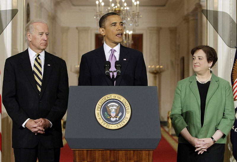 President Barack Obama introduces Solicitor General Elena Kagan as his choice for Supreme Court Justice at the White House today, as Vice President Joe Biden listens.