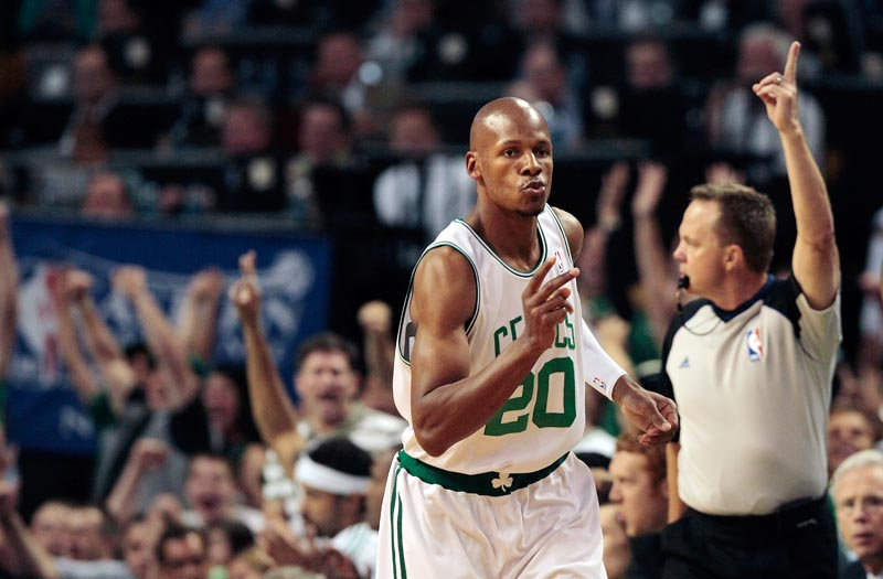 Ray Allen and the Celtics are one win away from a trip to the NBA finals after routing the Orlando Magic 94-71 Saturday night to take a 3-0 series lead.