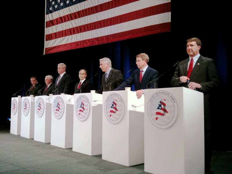 The seven Republican candidates for governor debate at the Portland Expo tonight.