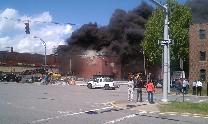 Photo taken by Nick DeLorenzo shows the fire at the former Jordan Meats plant as seen from Franklin Arterial.