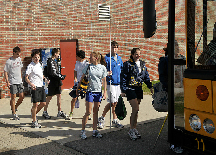 One solution to the Falmouth Track team's problem has been boarding a bus to travel to Gray-New Gloucester High School, where it works out at the Patriots' facility.