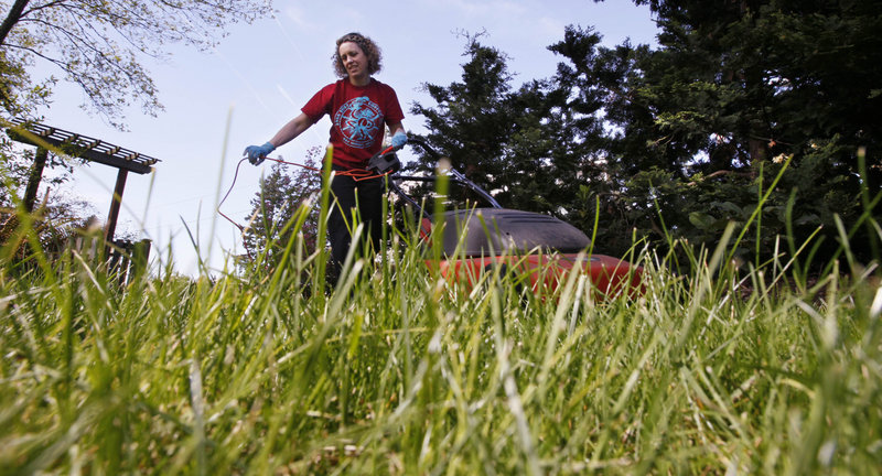 """Jane Witmer runs the mower over her lawn, which she keeps organic because, she says, """"It's better for my health, and the health of my pets and my family. (And) it's better for the health of the bugs and the birds in the yard."""""""