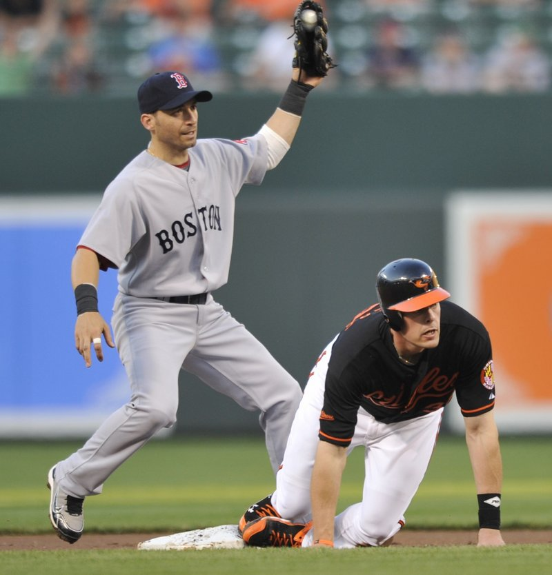 Marco Scutaro of the Red Sox holds the ball Friday night after tagging out Matt Wieters of the Baltimore Orioles, who was attempting to steal in the first inning of the Orioles' 5-4 victory at home in 10 innings.