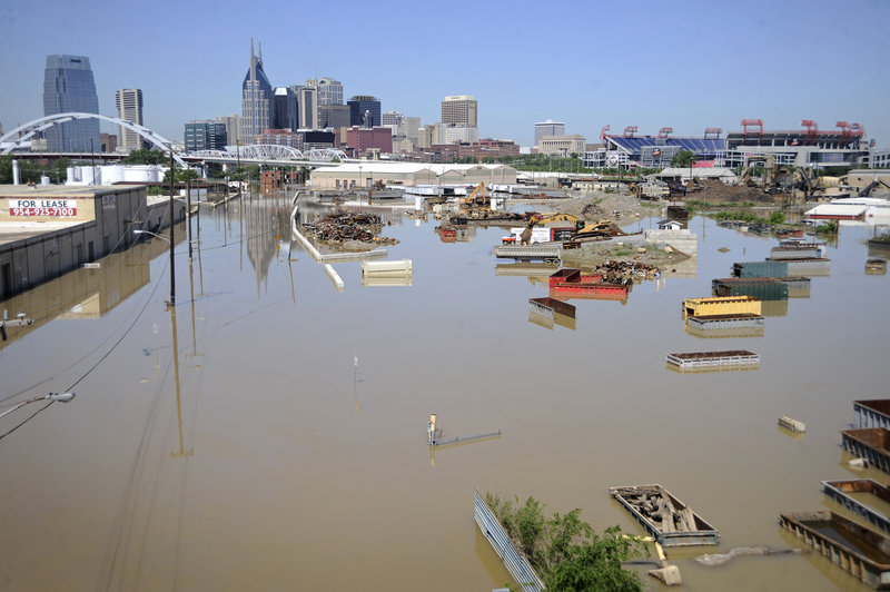 Freight containers are underwater Tuesday near Nashville, Tenn. Rescuers feared even more bodies would emerge as muddy floodwaters remain from torrential weekend rains that swamped much of Tennessee and two neighboring states, leaving at least 29 dead.