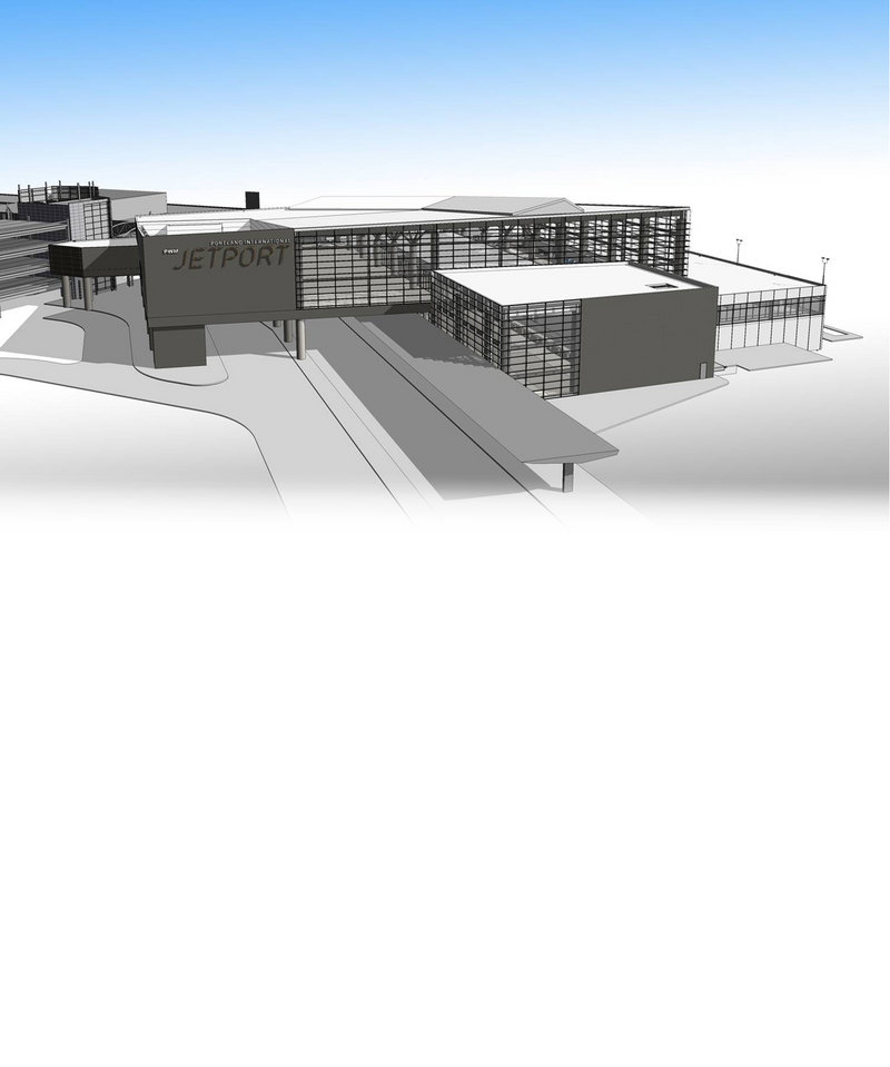 The artist concept drawing shows the new building and its relationship to the old terminal.