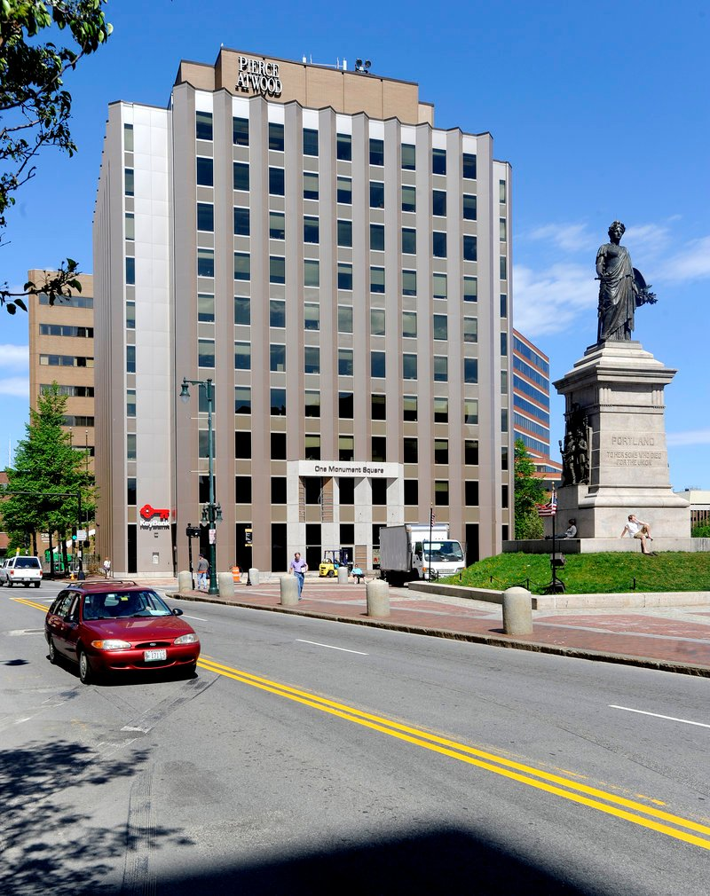 One Monument Square has been occupied by the Pierce Atwood law firm since the 1970s. The building is owned by Finard Properties of Burlington, Mass.
