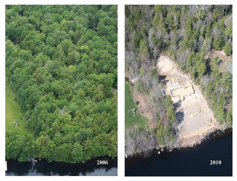 Aerial photographs show a parcel on Long Lake in Naples in 2006, left, and in April, after trees had been cleared from the site for a house development.