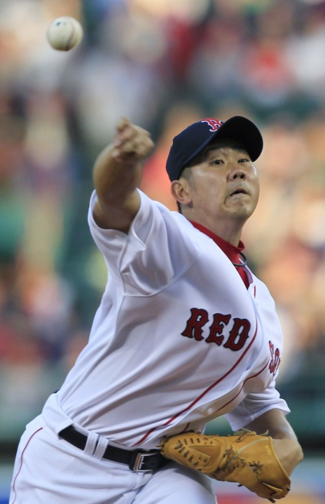 Daisuke Matsuzaka had early control problems for the Red Sox, giving up four runs, but recovered to retire 13 of the last 16 batters he faced.
