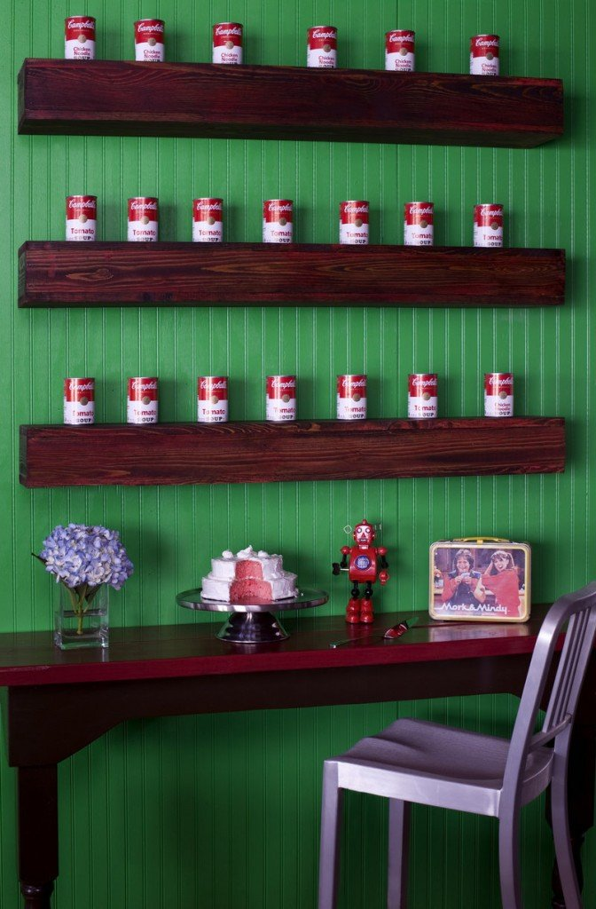 Designer Brian Patrick Flynn sometimes creates open storage to use everyday food items as decorative accessories.