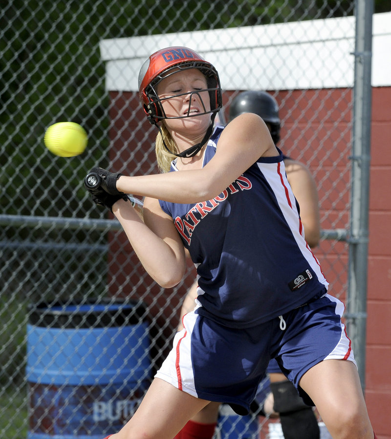 Kassie Wilson of Gray-New Gloucester holds up from swinging at a high pitch Friday. Fryeburg Academy took charge early and came away with a 10-4 victory.