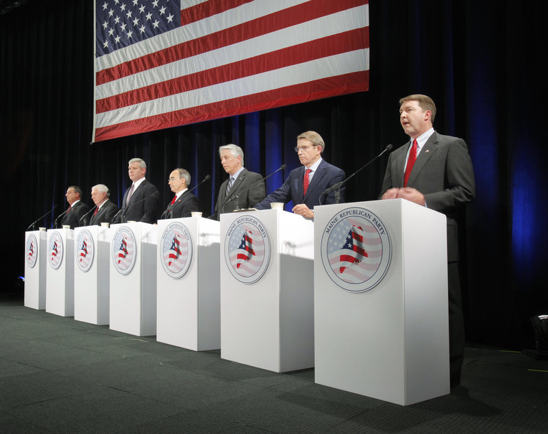 The seven Republican gubernatorial candidates participate in a debate Friday night during the party's convention at the Portland Expo. Left to right, they are: Paul LePage of Waterville; Bill Beardsley of Ellsworth; Steve Abbott of Portland; Bruce Poliquin of Georgetown; Les Otten of Greenwood; Peter Mills of Cornville; and Matt Jacobson of Cumberland.