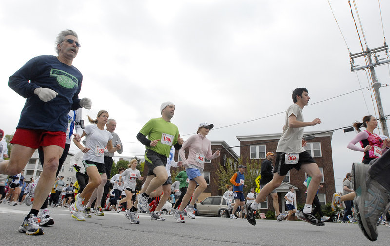 Runners head down Park Avenue near Hadlock Field at the start of the Sea Dogs Mother's Day 5K. More than 2,500 participants finished the 10th edition of the race.