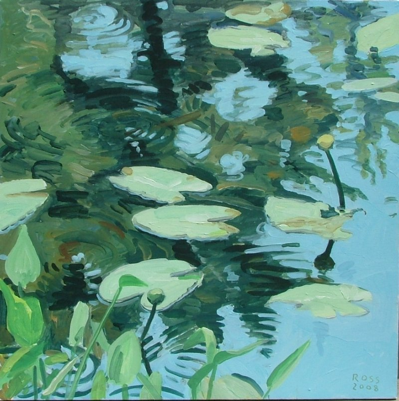 """""""Pond Study"""" from """"Watermarks: Recent Painting by Stuart Ross"""" at the Chocolate Church Arts Center in Bath."""
