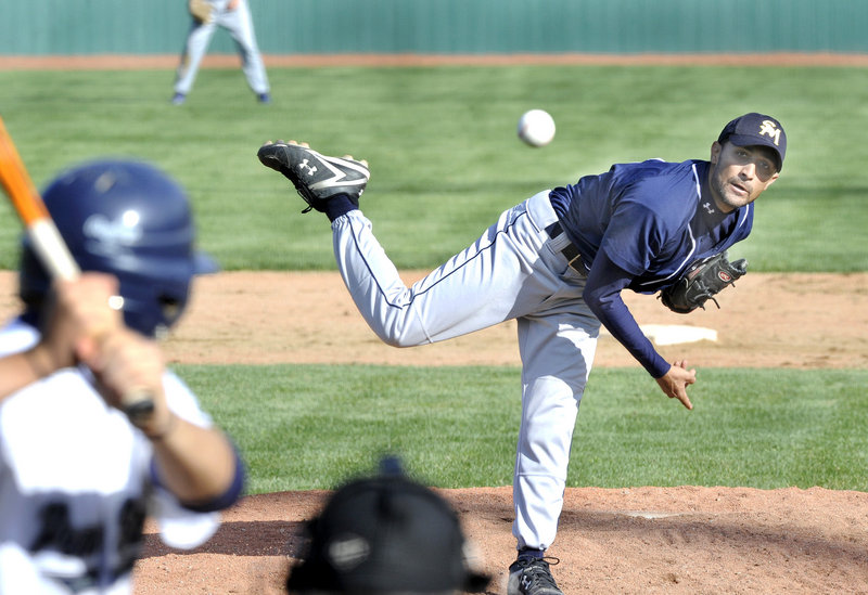 Southern Maine Community College pitcher Jamal Mustafa was dominant in his team's opening game of the United States Collegiate Athletic Association national tournament in Old Orchard Beach, allowing just three hits in a 5-3 win over Penn State-Greater Allegheny.