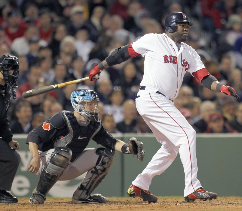 Big swing, but no, it is not a homer for David Ortiz, just an RBI single in a four-run second inning Monday night in Boston's 7-6 home win against Toronto.