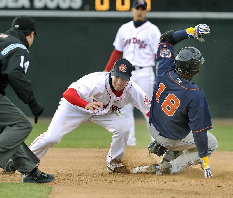 Sea Dogs second baseman Nate Spears makes the tag too late to get Binghamton's Brahiam Maldonado during Portland's 7-2 victory Wednesday night at Hadlock Field.