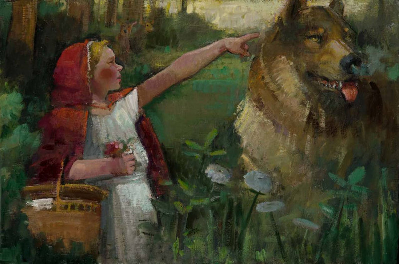 "Nancy Morgan-Barnes' view of ""Little Red Riding Hood"" in oil on panel"