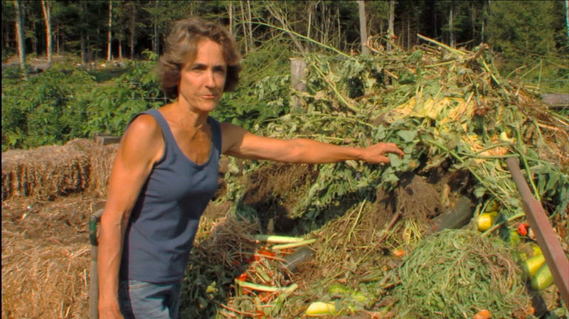 """Maine author Barbara Damrosch works in her garden in the feature-length film """"Dirt! The Movie."""" The film will be screened during the annual Food + Farm event at Space Gallery in Portland."""