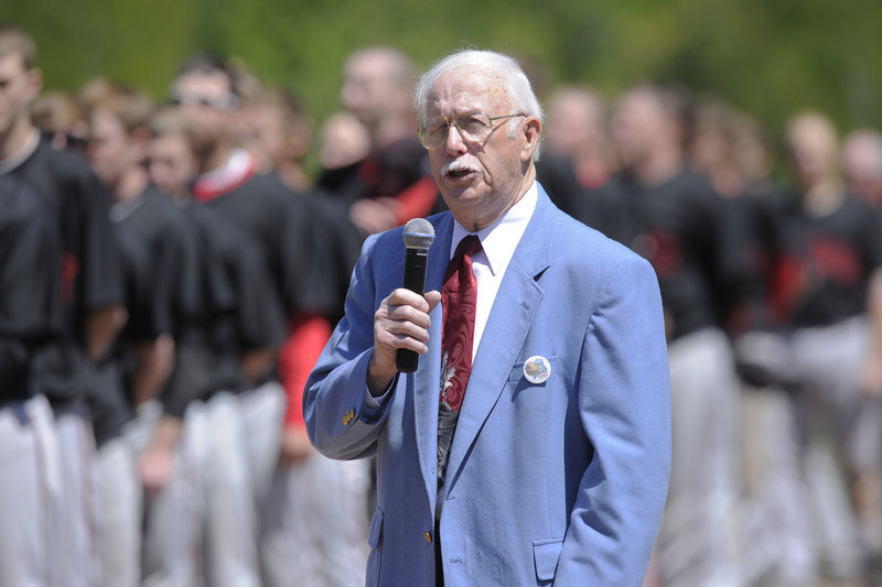 Lucien Huot sang the national anthem before baseball left The Ballpark, and he sang it when it returned – before the final game of the USCAA national tournament Thursday.