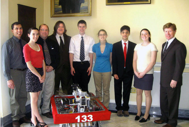 Senior members of the Bonny Eagle High School Robotics Team pose with state Sen. Bill Diamond, far left, at the State House, where they were recognized by the House of Representatives. From left are adviser John DiRenzo, Cori Simmons, adviser Mike Matthews, Devan Arnold, Eric Trumble, Janell Biczak, Ben Hall and Ashley Cox.