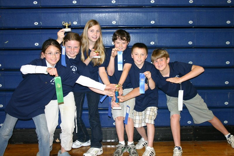 Sea Road School's grade 5 math team members pose with their team award and ribbons of individual achievement for their participation in the Southern Maine Elementary Math League Meet. Pictured, from left, are Sheila Baber, Caroline Rizzo, Madison Lux, Casey Schatzabel, Brenden Whitten and Kristopher Leslie.