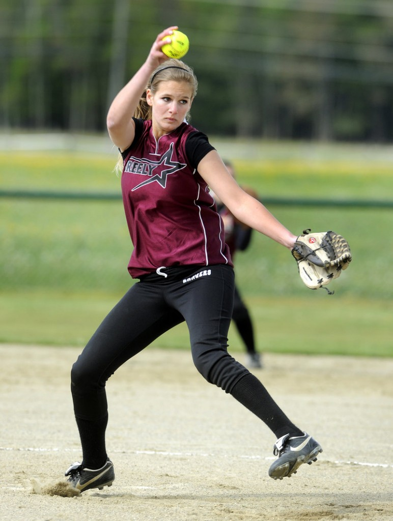 Mary Zambello, who has had two surgeries and proton beam treatment to overcome a tumor in her spine, is the ace pitcher for Greely despite one of her legs being more than an inch shorter than the other.