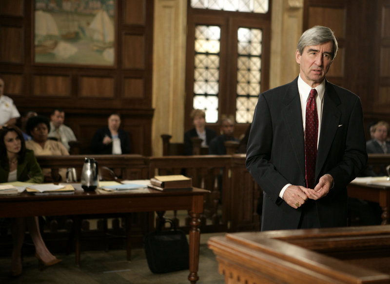 """Actor Sam Waterston, who joined the cast in 1994, appears as district attorney Jack McCoy in a scene from an episode of """"Law & Order."""""""