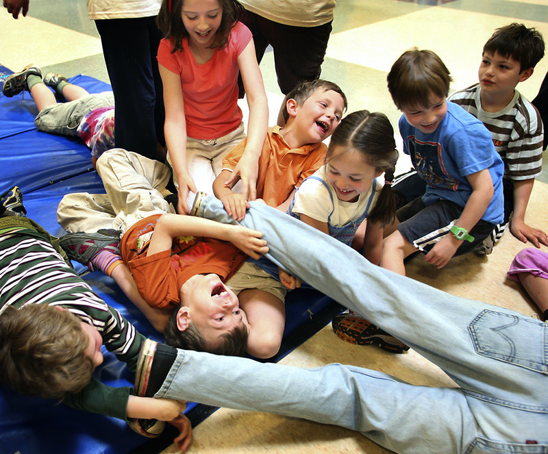 There was some leg-pulling as part of an exercise during a clowning and improv workshop given by instructor Jared Mongeau of Cumberland .