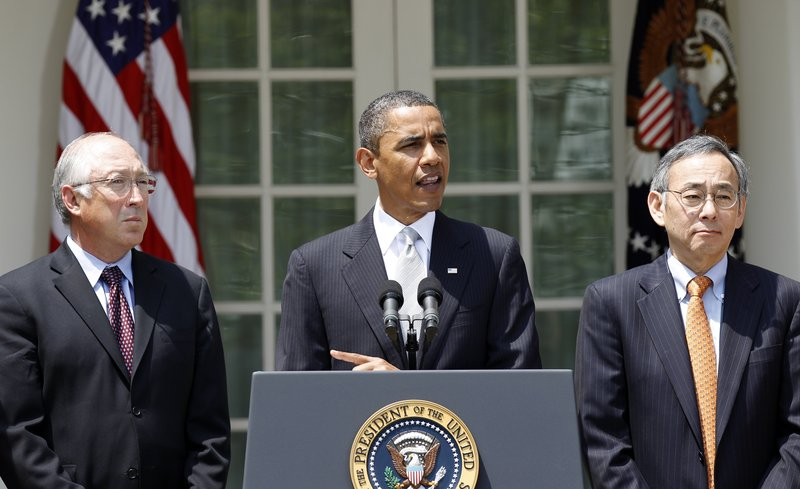 President Obama delivers remarks Friday on the BP oil spill, flanked by Interior Secretary Ken Salazar, left, and Energy Secretary Steven Chu. The president relies heavily on traditional paths to America's hearts and minds, such as this televised Rose Garden statement.