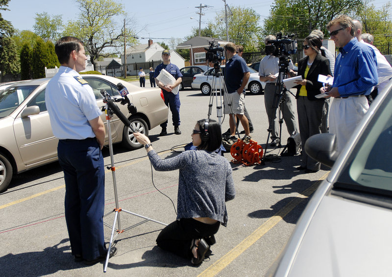 During a news conference Monday at the Coast Guard station in South Portland, Cmdr. Brian Downey confirms that two missing kayakers had been found. He said they were unresponsive and had no apparent vital signs when they were pulled from the 48-degree water.
