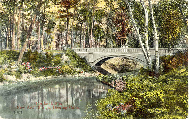 A vintage postcard shows the New Arch Bridge in Portland's Deering Oaks.