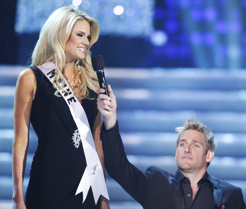 "Miss Maine, Katherine Ashley ""Katie"" Whittier of New Gloucester, is teased about her height by host Curtis Stone during the Miss USA 2010 pageant on Sunday in Las Vegas."
