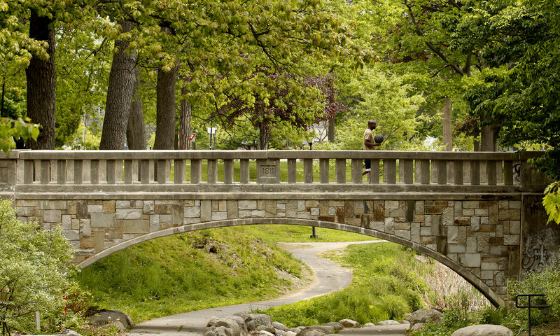 The 99-year-old footbridge in Portland's Deering Oaks spans a man-made ravine. The city plans to rehab the structure using capital improvement funds.
