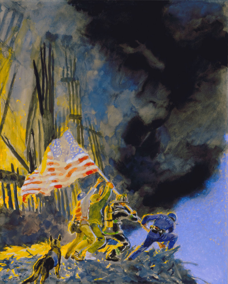 """""""September 11th – Study #1"""" by Jamie Wyeth, 2001, gouache, varnish and watercolor on board."""
