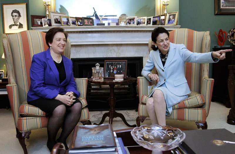 """Supreme Court nominee Elena Kagan, left, meets with GOP Sen. Olympia Snowe of Maine on Thursday. Asked whether Republicans could support Kagan, Snowe had kind words for her afterward, but said, """"I'd like to wait and see."""""""