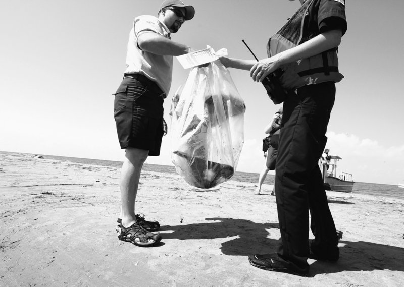 U.S. Fish and Wildlife officer Raul Sanchez hands off a dead oil-covered pelican to an unidentified Coast Guardsman after bagging it as evidence on North Breton Island, La., Thursday. Oil has begun coating the reeds and grasses of Louisiana's wetlands at the mouth of the Mississippi River, home to rare birds, mammals and a rich variety of marine life.