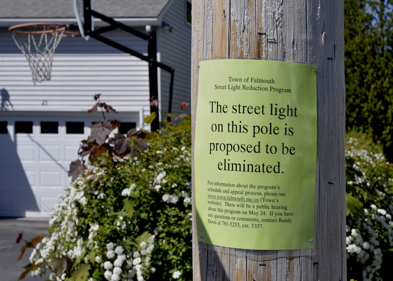 This light on Andrews Avenue is one of several in the neighborhood that might be removed as part of the Falmouth streetlight reduction program, which aims to save the town money.