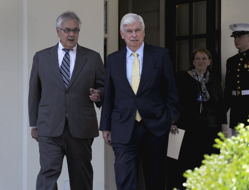 Sen. Christopher Dodd, D-Conn., right, and Rep. Barney Frank, D-Mass., leave the White House after their meeting with President Obama on Friday on financial reform.