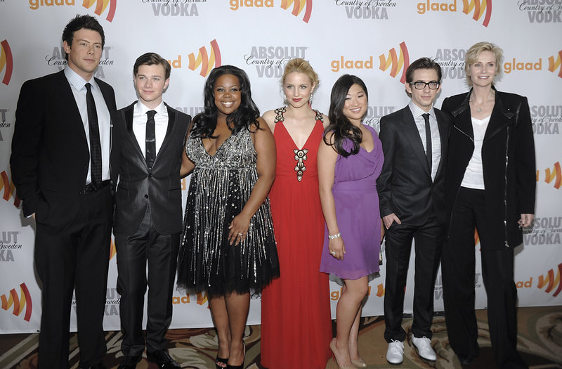 """The cast of """"Glee"""" includes Jane Lynch, far right."""