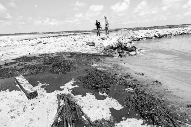 Oil washes ashore against a land bridge built by the Louisiana National Guard to hold back oil from the Deepwater Horizon oil spill in Grand Isle, La., on Friday.