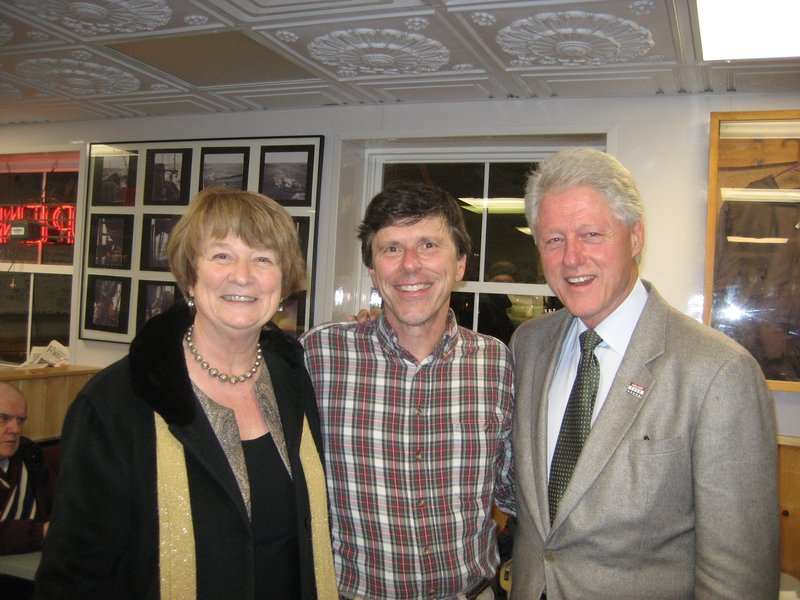 George Smith, center, with Maine Senate President Libby Mitchell and former President Bill Clinton at Becky's Diner.