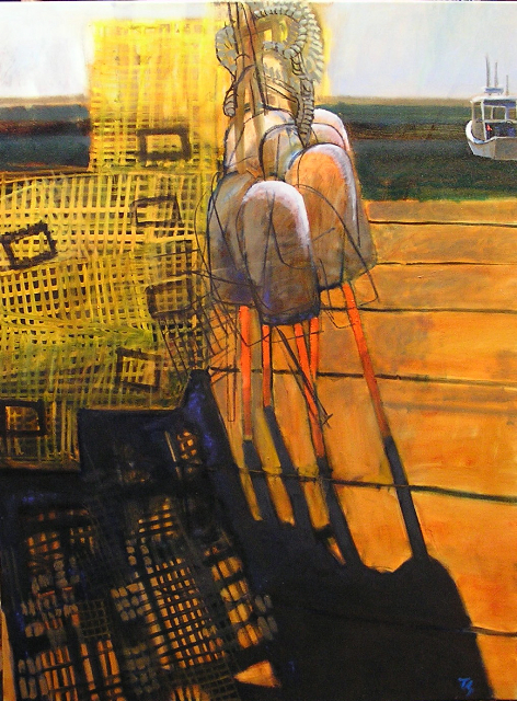 """""""Morning Pots, Buoys,"""" oil on canvas by Tom Glover at the George Marshall Store Gallery in York."""