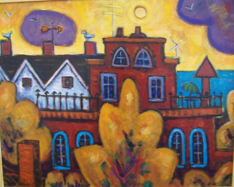 """""""Trees and Bricks"""" by Phillip Barter at the Littlefield Gallery in Winter Harbor."""